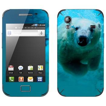 Виниловая наклейка «Белый медведь под водой» на телефон Samsung Galaxy Ace