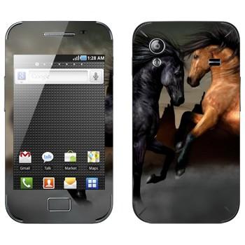 Виниловая наклейка «Черная и гнедая лошади» на телефон Samsung Galaxy Ace