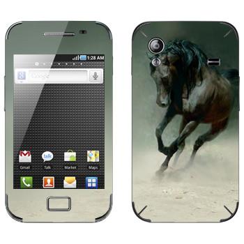 Виниловая наклейка «Черная лошадь» на телефон Samsung Galaxy Ace