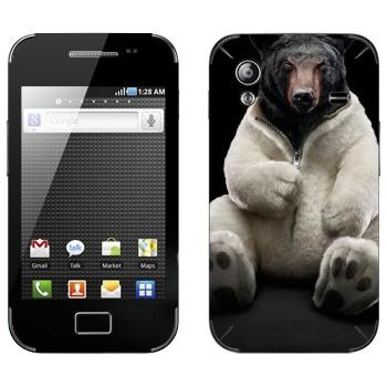 Виниловая наклейка «Черный медведь в шкуре белого» на телефон Samsung Galaxy Ace