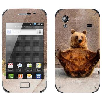 Виниловая наклейка «Гризли в зоопарке» на телефон Samsung Galaxy Ace
