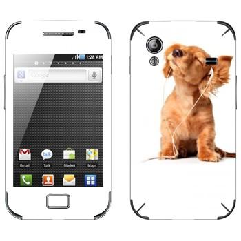 Виниловая наклейка «Щенок в наушниках» на телефон Samsung Galaxy Ace