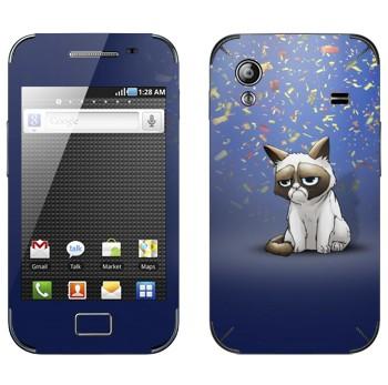 Виниловая наклейка «Сердитый кот и конфети» на телефон Samsung Galaxy Ace