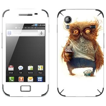 Виниловая наклейка «Сонная сова» на телефон Samsung Galaxy Ace