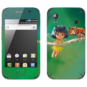 Виниловая наклейка «Сова и маленькая фея» на телефон Samsung Galaxy Ace