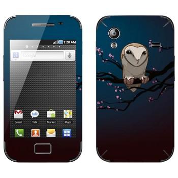 Виниловая наклейка «Сова на сакуре» на телефон Samsung Galaxy Ace