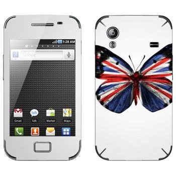 Виниловая наклейка «Флаг Британии на крыльях бабочки» на телефон Samsung Galaxy Ace