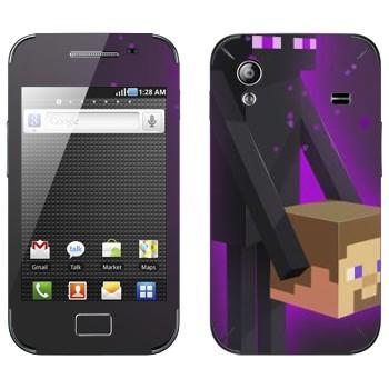Виниловая наклейка «Enderman и голова - Minecraft» на телефон Samsung Galaxy Ace