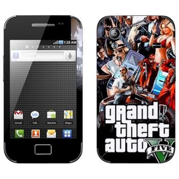 Виниловая наклейка «Grand Theft Auto 5 - Коллаж» на телефон Samsung Galaxy Ace
