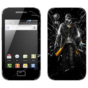 Виниловая наклейка «Watch Dogs - Эйден Пирс и осколки стекла» на телефон Samsung Galaxy Ace