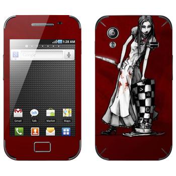 Виниловая наклейка «Алиса черно-белая - Алиса: безумие возвращается» на телефон Samsung Galaxy Ace