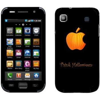 Виниловая наклейка «Лого Apple в виде тыквы - Хэллоуин» на телефон Samsung Galaxy S