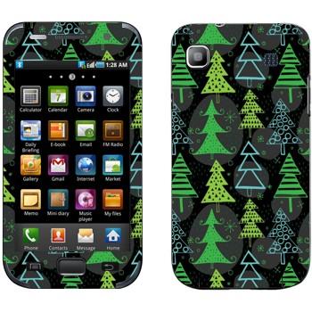 Виниловая наклейка «Новогодние деревья узор» на телефон Samsung Galaxy S
