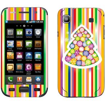 Виниловая наклейка «Новогодняя елка из разноцветных снежинок» на телефон Samsung Galaxy S