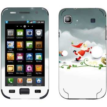 Виниловая наклейка «Санта-Клаус делает снеговика» на телефон Samsung Galaxy S