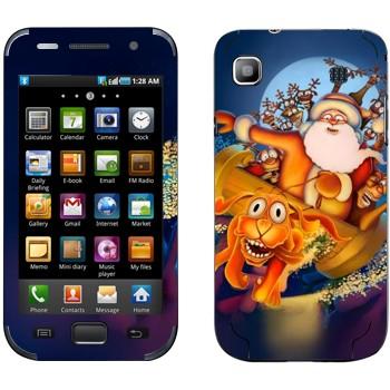 Виниловая наклейка «Санта-Клаус и веселые олени» на телефон Samsung Galaxy S