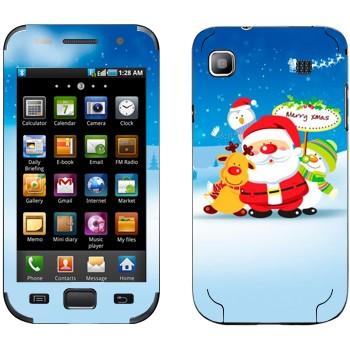 Виниловая наклейка «Санта, олень и снеговики» на телефон Samsung Galaxy S