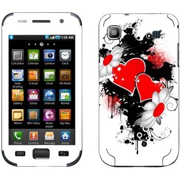 Виниловая наклейка «Сердца и ромашки - День Святого Валентина» на телефон Samsung Galaxy S