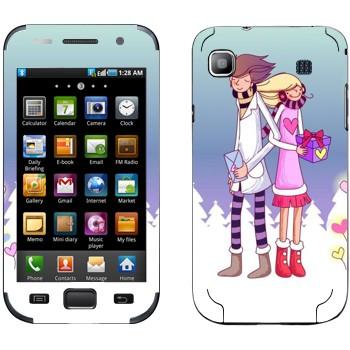 Виниловая наклейка «Влюбленные с подарками - День Святого Валентина» на телефон Samsung Galaxy S