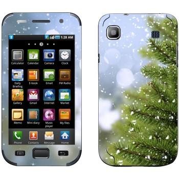 Виниловая наклейка «Ёлка и снег» на телефон Samsung Galaxy S