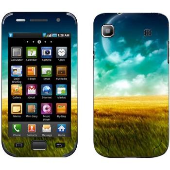 Виниловая наклейка «Поле, небо и Луна» на телефон Samsung Galaxy S