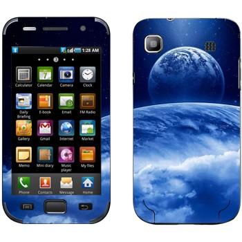Виниловая наклейка «Вид на Землю и Луну из космоса» на телефон Samsung Galaxy S