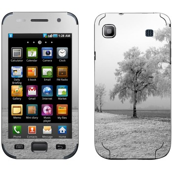Виниловая наклейка «Заснеженное дерево» на телефон Samsung Galaxy S