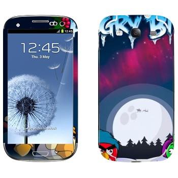 Виниловая наклейка «Angry Birds зимой» на телефон Samsung Galaxy S3