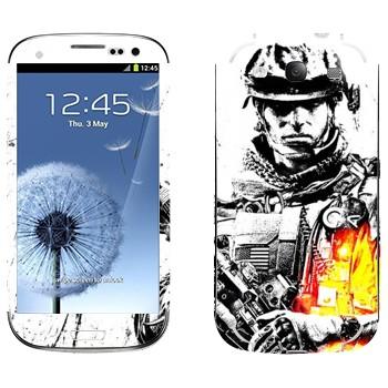 Виниловая наклейка «Battlefield 3 - солдат» на телефон Samsung Galaxy S3