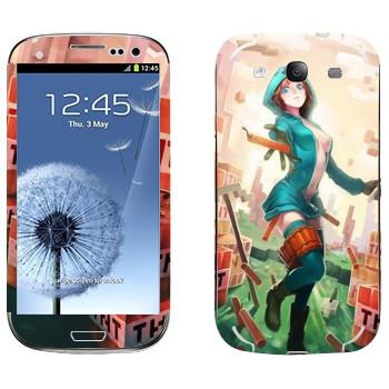 Виниловая наклейка «Creeper Девушка - Minecraft» на телефон Samsung Galaxy S3
