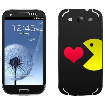 Виниловая наклейка «I love Pacman» на телефон Samsung Galaxy S3