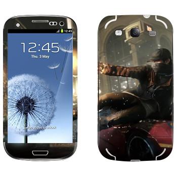 Виниловая наклейка «Watch Dogs - Эйден Пирс скользит по машине» на телефон Samsung Galaxy S3