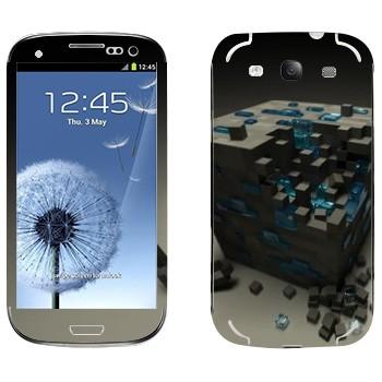 Виниловая наклейка «Куб майнкрафт» на телефон Samsung Galaxy S3