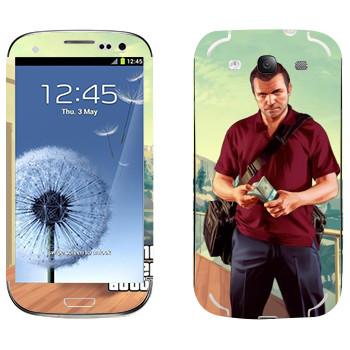 Виниловая наклейка «Майкл - GTA5» на телефон Samsung Galaxy S3