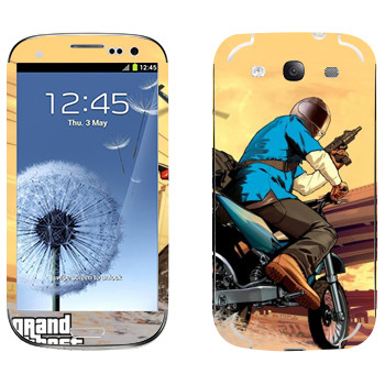 Виниловая наклейка «Мотоцикл - GTA5» на телефон Samsung Galaxy S3