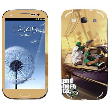 Виниловая наклейка «Нигеры с узи - GTA5» на телефон Samsung Galaxy S3