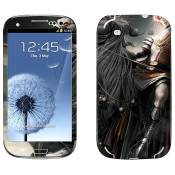 Виниловая наклейка «Воин на черном коне - Lineage II» на телефон Samsung Galaxy S3