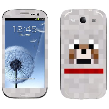Виниловая наклейка «Волк - Minecraft» на телефон Samsung Galaxy S3