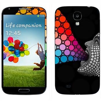 Виниловая наклейка «Человек и цветные пузыри» на телефон Samsung Galaxy S4