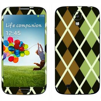 Виниловая наклейка «Черно-коричневые-зеленые ромбы» на телефон Samsung Galaxy S4