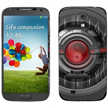 Виниловая наклейка «Инь-янь техно стиль» на телефон Samsung Galaxy S4