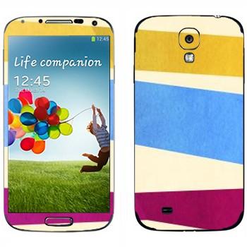 Виниловая наклейка «Желтая, голубая, пурпурная полосы» на телефон Samsung Galaxy S4