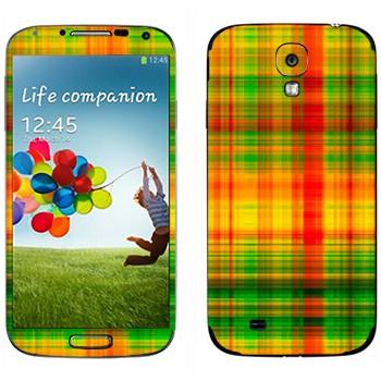 Виниловая наклейка «Желто-зеленые и красные клеточки» на телефон Samsung Galaxy S4