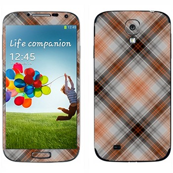 Виниловая наклейка «Клеточки коричневые» на телефон Samsung Galaxy S4