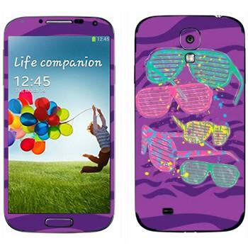 Виниловая наклейка «Клубные разноцветные очки» на телефон Samsung Galaxy S4