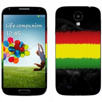 Виниловая наклейка «Красная-желтая-зеленая полоски» на телефон Samsung Galaxy S4