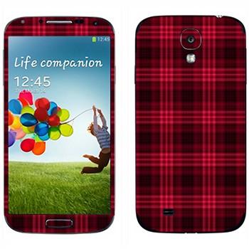 Виниловая наклейка «Красно-бордовая клетка» на телефон Samsung Galaxy S4