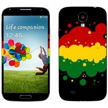 Виниловая наклейка «Красные-желтые-зеленые полоски кляксами» на телефон Samsung Galaxy S4
