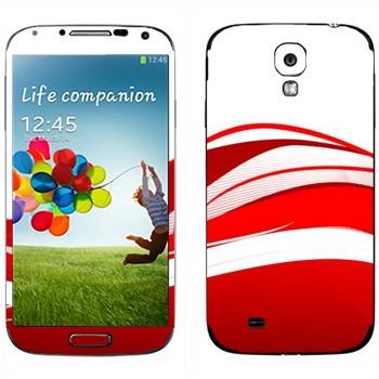 Виниловая наклейка «Красные волны» на телефон Samsung Galaxy S4