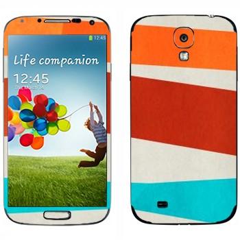 Виниловая наклейка «Оранжевая, коричневая, голубая полосы» на телефон Samsung Galaxy S4